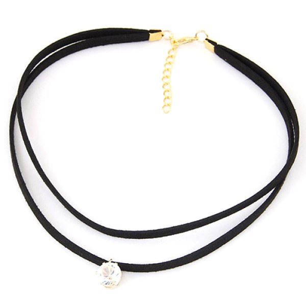 Black choker - dvojna črna ogrlica s kristalčkom