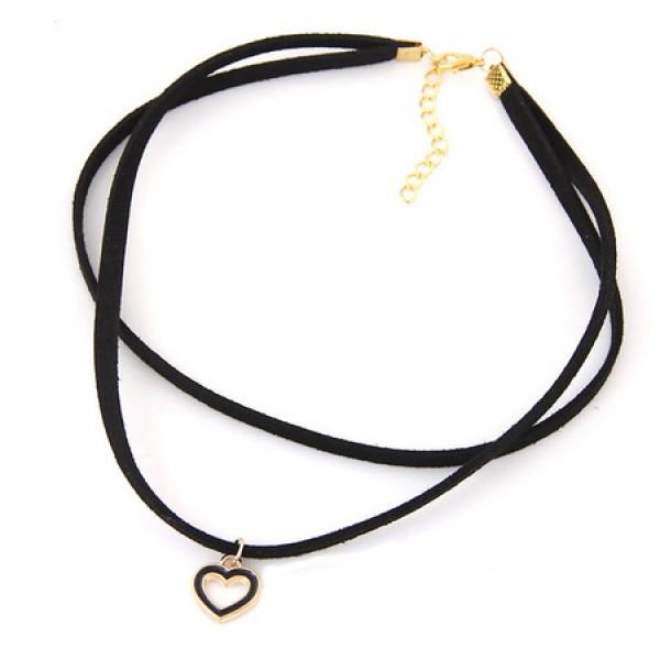 Black choker - dvostruka sa srcem (crno zlatna kombinacija)