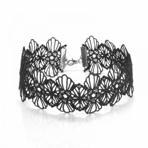 Black choker - široka čipkasta ogrlica