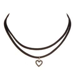 Black choker - dvojna črna ogrlica s srčkom (črno srebrna kombinacija)