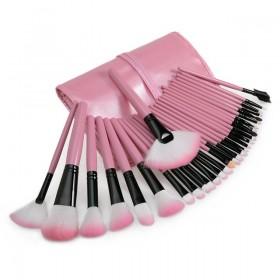 MAKEUP4U - set 32 roza čopičev (+torbica)